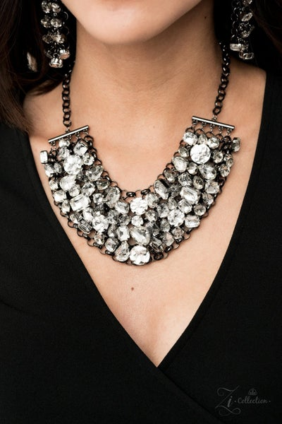 Ambitious - Gunmetal Layers of White Rhinestones - 2020 Zi Collection Piece