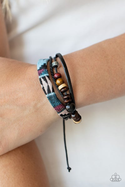 Urban Badlands - Leather & Wooden Beads in a Southwestern Style Pull-Tight Bracelet