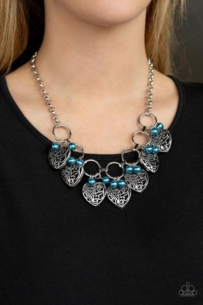 Very Valentine - Silver with Silver Heart Charms & Blue Pearls Necklace & Earrings