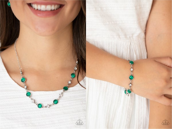 Pre-Order Inner Illumination & Use Your Illumination - Silver with Green & White Rhinestones Necklace, Earrings & Bracelet Set