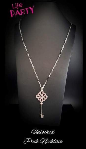 Unlocked - Silver with Pink Rhinestone Encrusted Skeleton Key - May 2020 Life of the Party Exclusive