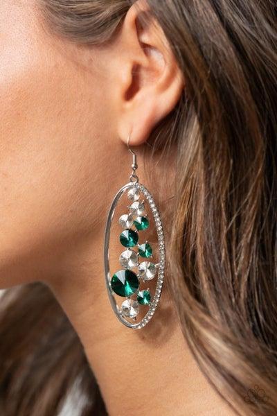 Rock Candy Bubbly - Green & White Glassy Rhinestone Earrings