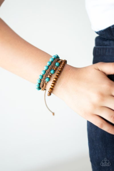 Renewable Energy - Suede, Cordage and Turquoise Pull-Tight Bracelet