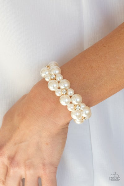Pre-Order Flirt Alert - White Pearls with White Rhinestones framed in Gold Stretch Bracelet