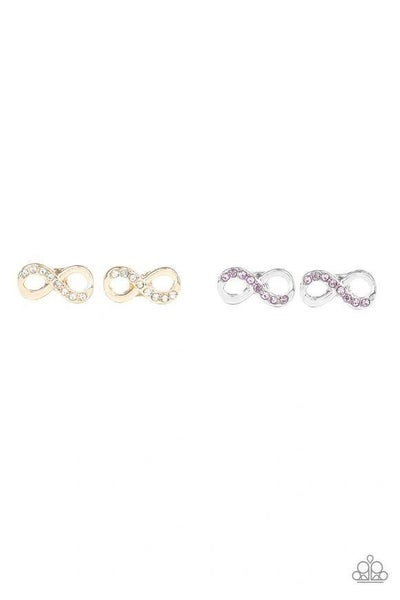 Infinity - Shaped Earring with Rhinestones - Post Back Earrings