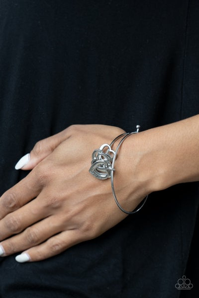 """A Charmed Society - Silver Heart Charms stamped """"Grandma, Aunt, Daughter, Mom"""" Bracelet"""