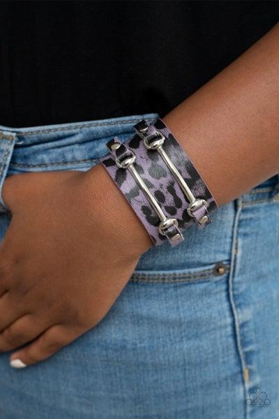 Safari Scene - Purple Cheetah Print with Silver Studs Snap Bracelet
