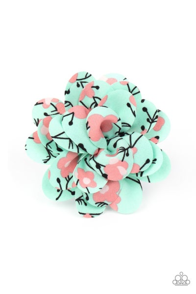 Springtime Eden - Green with Coral Blossoms Hair Bow