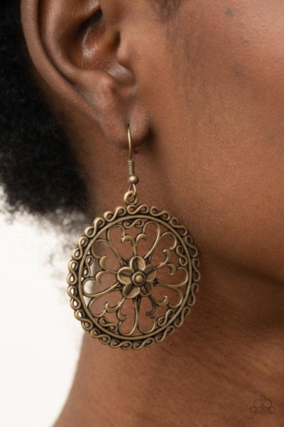 Floral Fortunes - Brass Butterfly framed Floral Earrings
