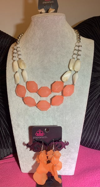 Seacoast Sunset & Fragile Florals - Coral Orange Necklace & Earrings Set