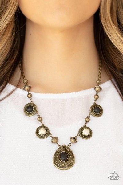 Mayan Magic - Brass with Black and White Crackle Beads Necklace