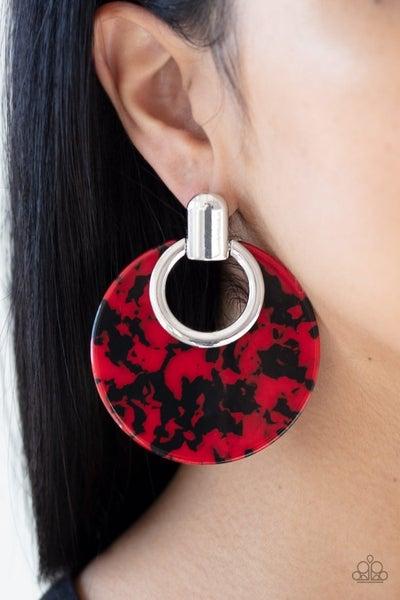 Metro Zoo - Red Acrylic Cheetah Print Earrings