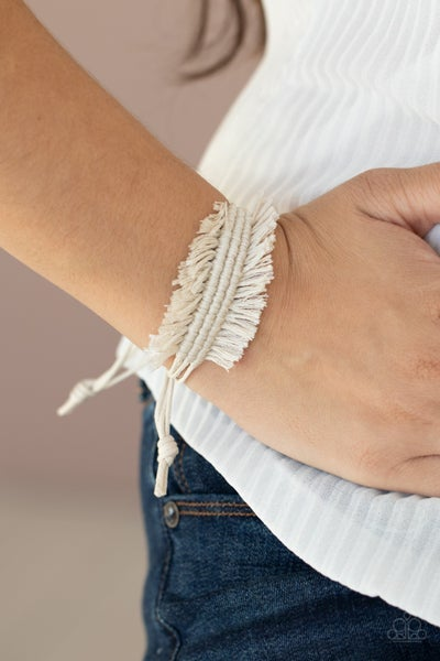 Pre-Sale - Make Yourself at HOMESPUN - Shiny White Braids with Fringe Pull-Tight Bracelet