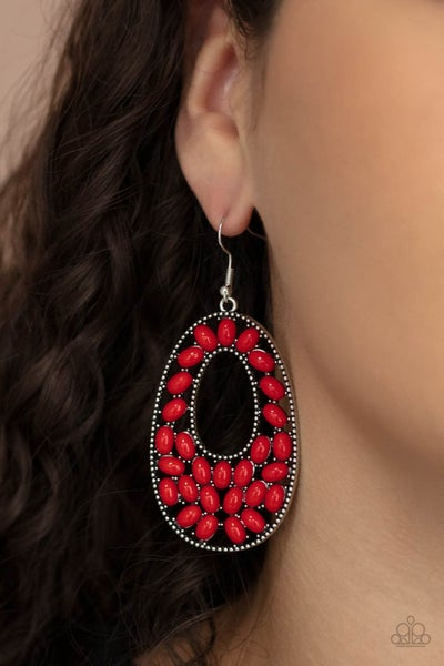 Beaded Shores - Red Oval Beads in an Oval Silver Frame Earrings