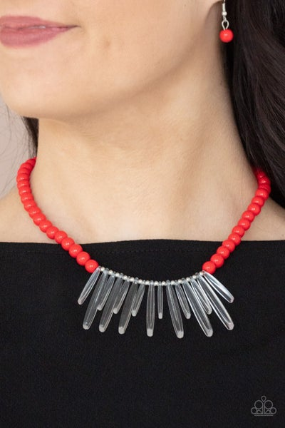 Icy Intimidation - Red Beaded Necklace with Acrylic Icicles Necklace & Earrings