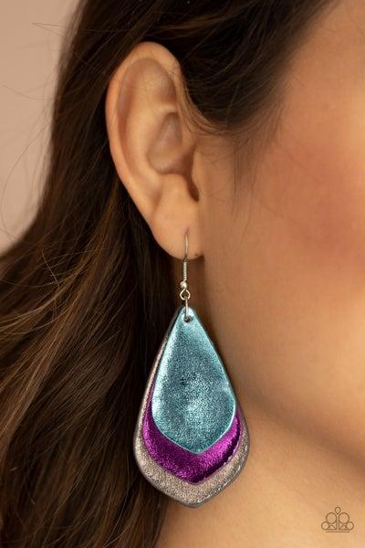 Pre-Sale GLISTEN Up! - Blue, Purple & Gray Leather Earrings