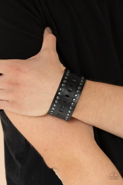 Pre-Order A ROAM With A View - Black Leather with Gunmetal accents Snap Bracelet
