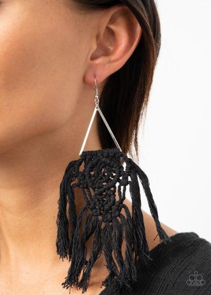 Pre-Sale Modern Day Macrame - Silver with Black Macramé Tassel Earrings