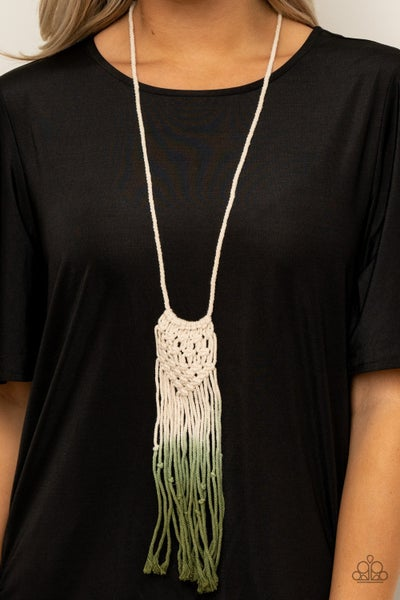 Pre-Sale Surfin The Net - White Ombre to Green Macrame Necklace & Earrings