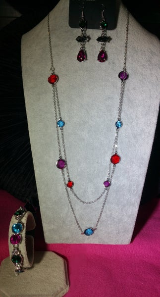 Raise Your Glass, Starlet Twinkle & Care to Make a Wager - Silver with Multi-Color Gems 3 Piece Set
