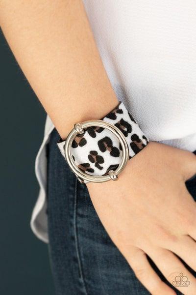 Asking FUR Trouble - White Cheetah Print Mohair Snap Bracelet