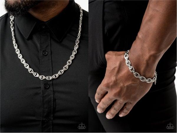 Grit and Gridiron with Gridiron Grunge - Silver Necklace & Bracelet Men's Set