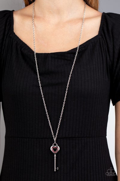 Unlock Your Heart - Silver Key topped with a Red Rhinestone encrusted Heart Necklace & Earrings