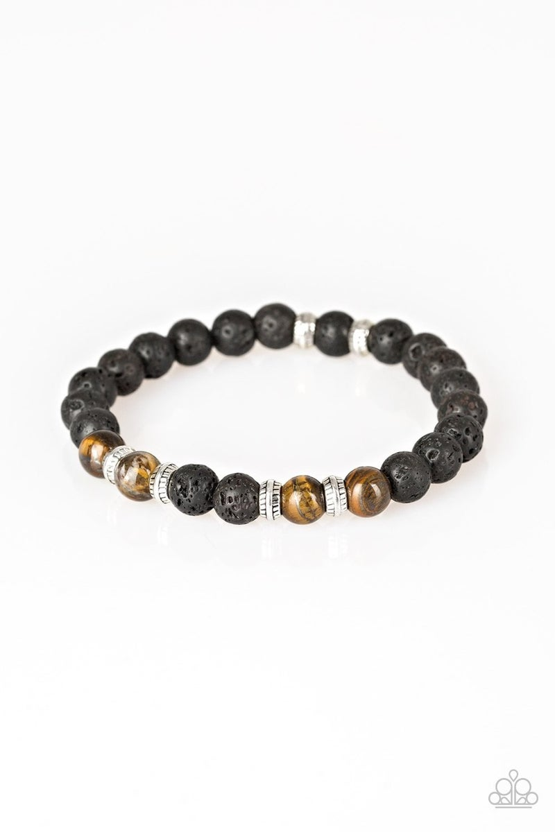 Peace and Quiet - Black Lava Beads with Brown Cat's Eye Accent Beads Bracelet