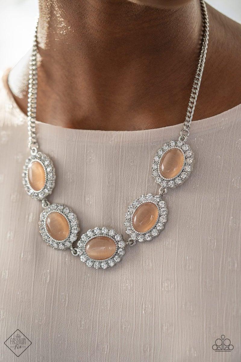 Pre-Sale - A DIVA-ttitude Adjustment - Silver with Orange Moonstone & Rhinestones Necklace & Earrings