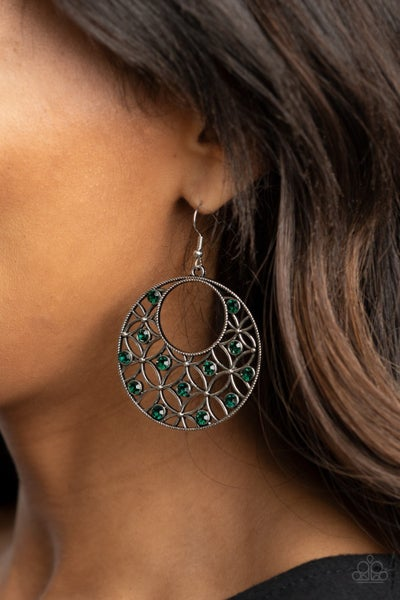 Garden Garnish - Silver filigree with Green Rhinestones Earrings