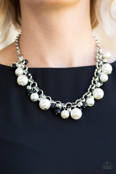 The Upstater - Silver with White Pearls, shiny Black & Silver Beads Necklace & Earrings