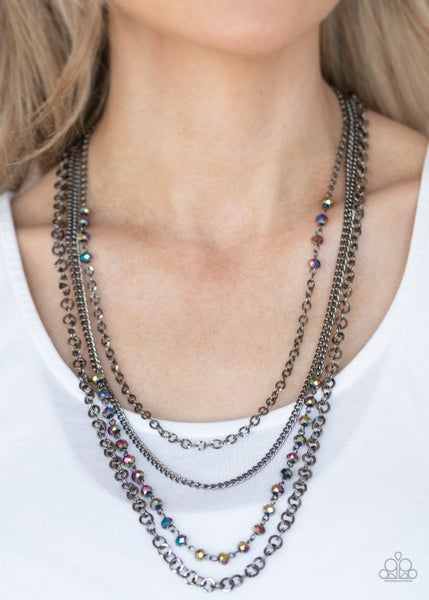 Flickering Lights - Gunmetal Necklace with Oil Spill Beads Necklace