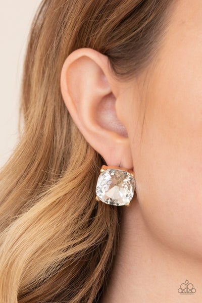 Pre-Sale Royalty High - Gold with large princess cut white Rhinestone Stud Earrings