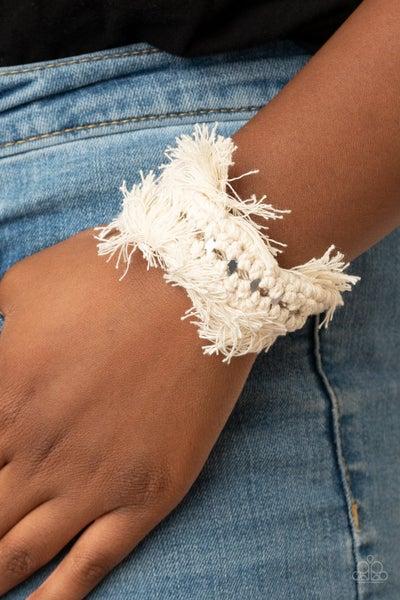 Homespun Hardware - White Fringe Cuff Bracelet