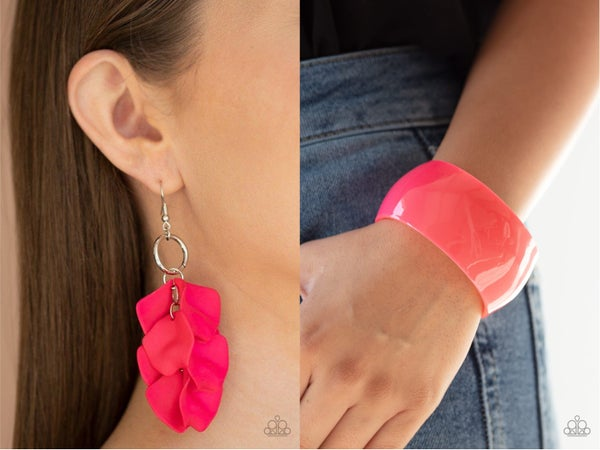 Glass Gardens - Pink Acrylic Earrings and Fluent in Flamboyance Pink Acrylic Bracelet