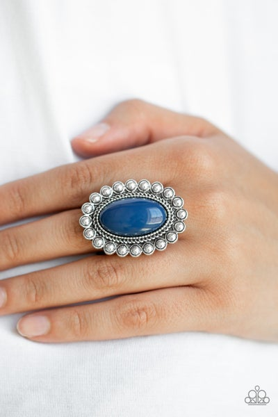 Pre-Order Ready To Pop - Silver with large oval Blue Stone adjustable Ring