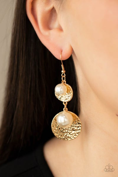 Pearl Dive - Hammered Gold discs with White Pearls Earrings