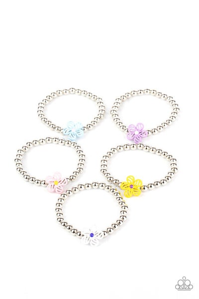 Assorted Colors & Shapes of Silver Stretch Bracelets with Floral Charms for Kids or the Kid at Heart