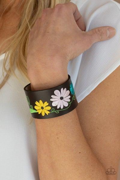 Western Eden - Multicolor floral stitching on Brown Leather Snap Bracelet
