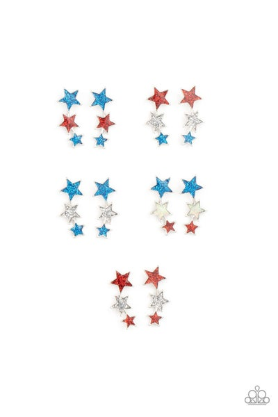 Assorted colors of patriotic stars for Kids or the Kid at Heart Earrings