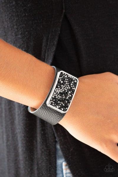 Pre-Sale - Interstellar Shimmer - Black Leather with Black Hematite Stones Snap Bracelet