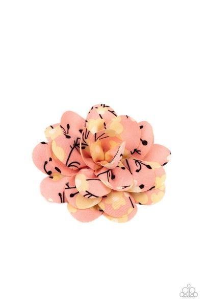Springtime Eden - Orange with Yellow Floral Print Hair Bow Clip