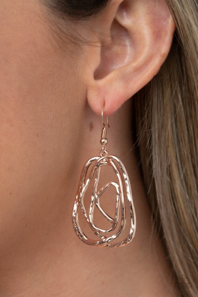 Pre-Order Artisan Relic - Hammered Rose Gold wired Earrings