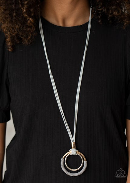 Pre-Sale - Elliptical Essence - Gold & Silver Hoops suspended from and wrapped with Silver Suede Necklace & Earrings