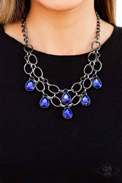 Show-Stopping Shimmer - Gunmetal with Blue Teardrop  Rhinestones Necklace & Earrings