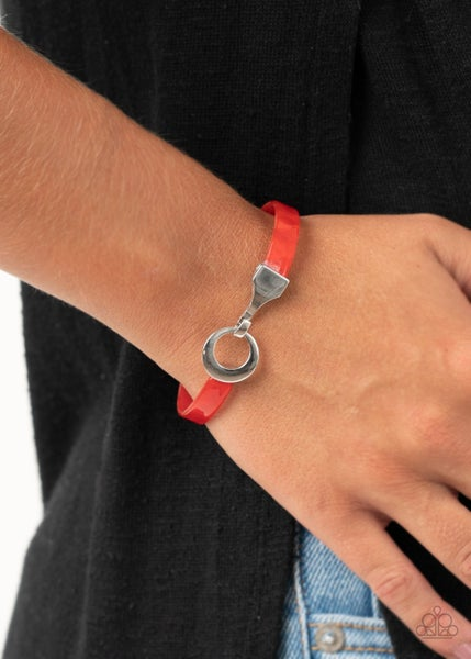 Pre-Sale - HAUTE Button Topic - Red Acrylic Hinged Bracelet