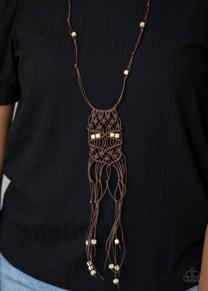 Pre-Sale Macrame Majesty - Brown Macrame Necklace & Earrings