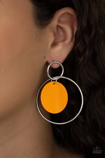 POP, Look, and Listen - Silver Hoops with Orange Acrylic disc Center Post Earrings
