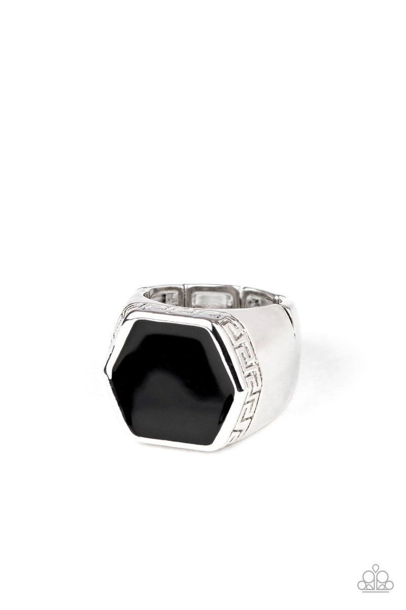 HEX Out - Black hexagonal gem in Silver Tribal inspired Men's adjustable Ring