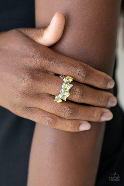 Majestically Modern - Silver with Yellow Teardrop Rhinestones Ring